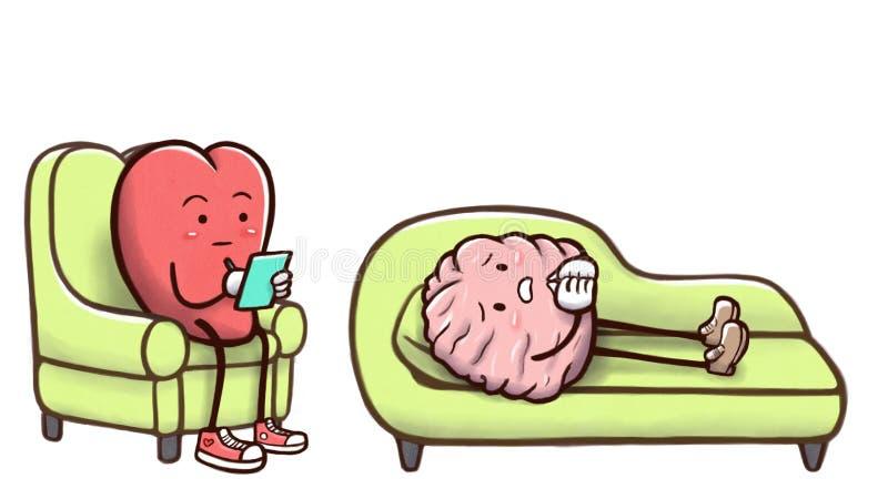Coeur de psychologue en session de thérapie avec un cerveau patient sur le divan - d'isolement à l'arrière-plan blanc illustration stock