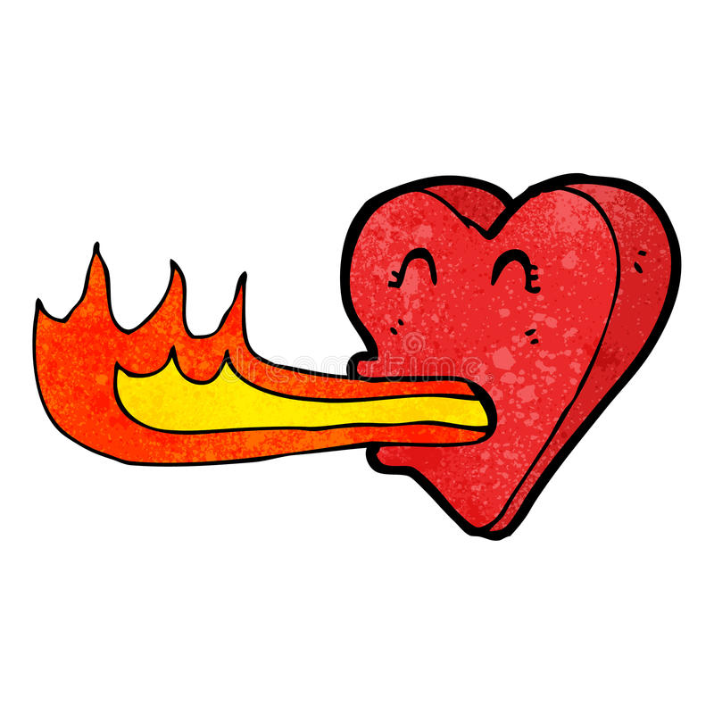 coeur de respiration du feu de bande dessinée illustration stock
