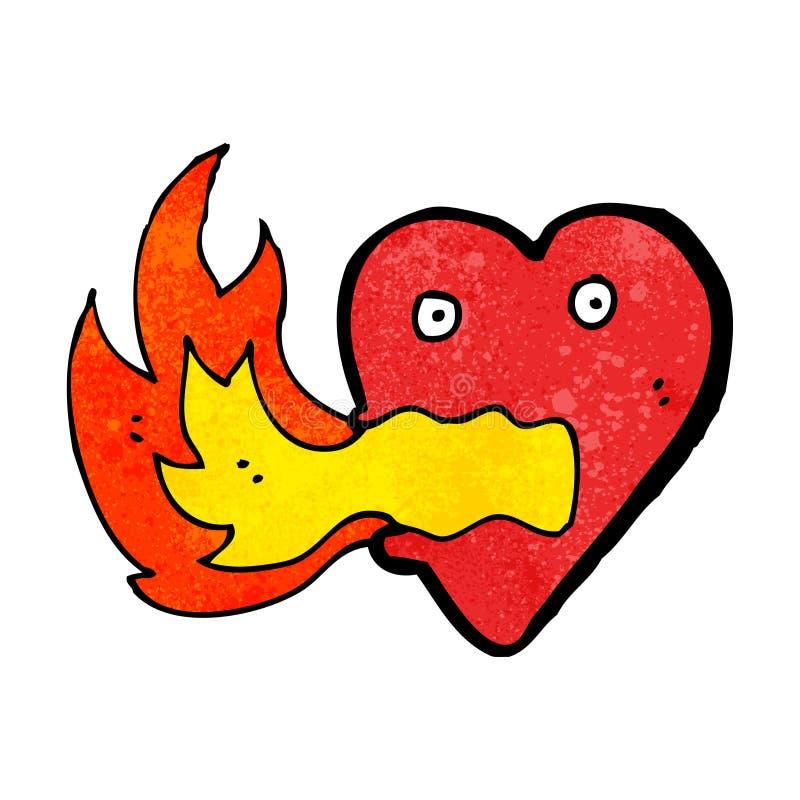 coeur de respiration du feu de bande dessinée illustration de vecteur