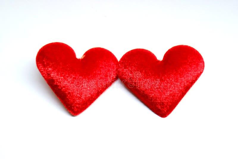 Coeur de rouge du velours deux photos stock