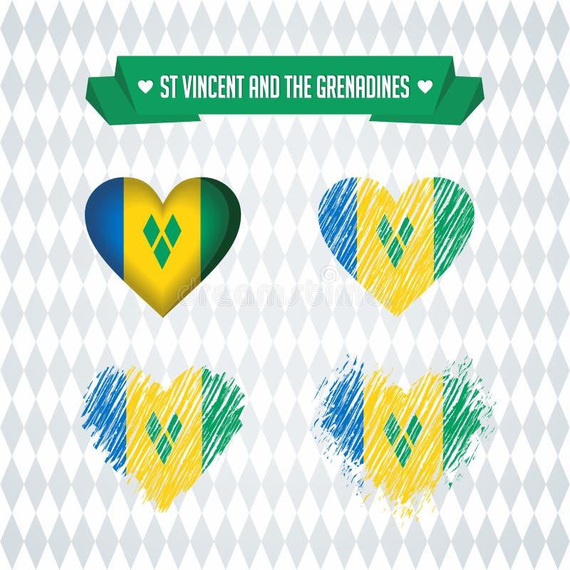 Coeur de Saint-Vincent-et-les-Grenadines avec le drapeau à l'intérieur Symboles graphiques grunges de vecteur illustration libre de droits