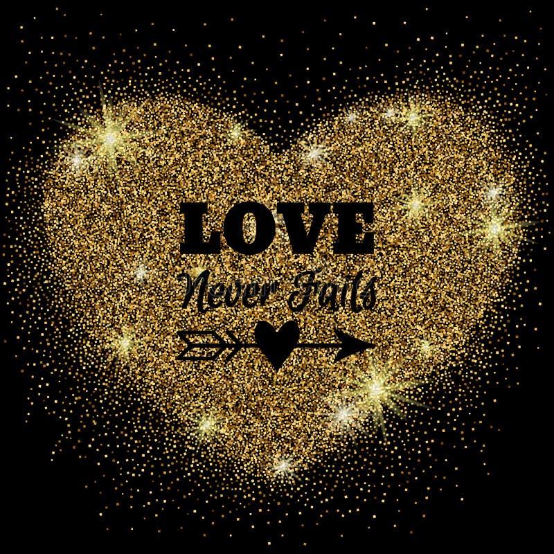 Coeur de scintillement d'or avec des étincelles sur le fond noir illustration libre de droits