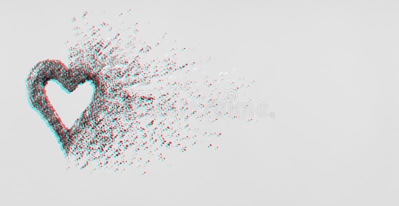 Coeur de scintillement se dissolvant dans des morceaux sur le fond rose Jour de valentines, coeur brisé et concept d'émergence d' illustration de vecteur