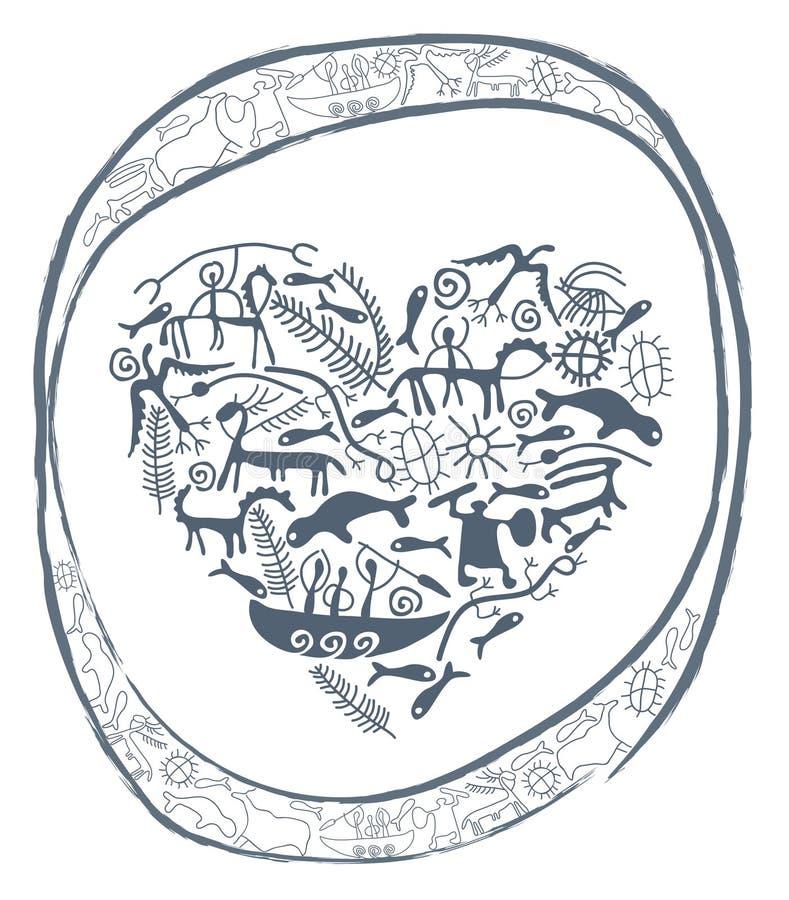 Coeur de Shamanic en cercle ornemental illustration libre de droits