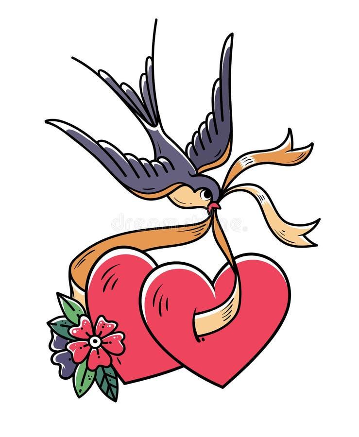 Coeur de tatouage avec les fleurs et l'oiseau L'hirondelle reporte deux coeurs sur le ruban Illustration, autocollant pour le jou illustration stock