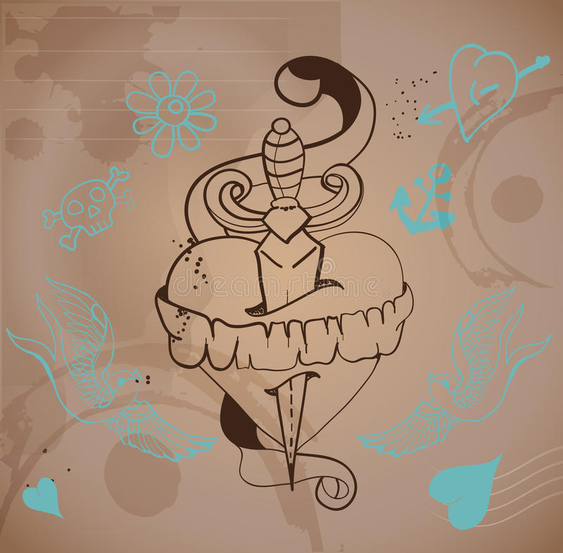 coeur de tatouage de style de Vieux-école illustration libre de droits