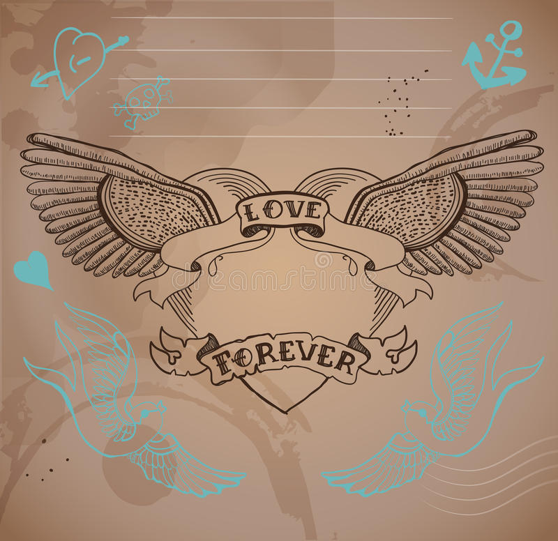 coeur de tatouage de style de Vieux-école avec des fleurs, illustrati de Valentine illustration de vecteur
