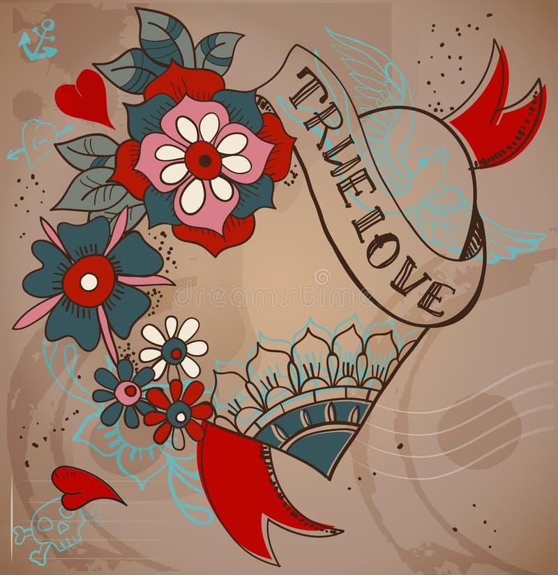 coeur de tatouage de style de Vieux-école avec des fleurs, illustrati de Valentine illustration libre de droits