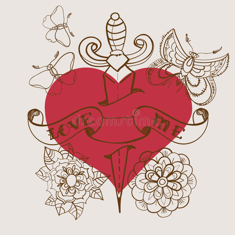 coeur de tatouage de style de Vieux-école avec les fleurs et le poignard, Valentine illustration stock