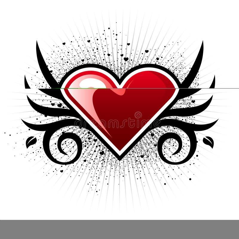 Coeur de Valentine avec des ailes illustration de vecteur