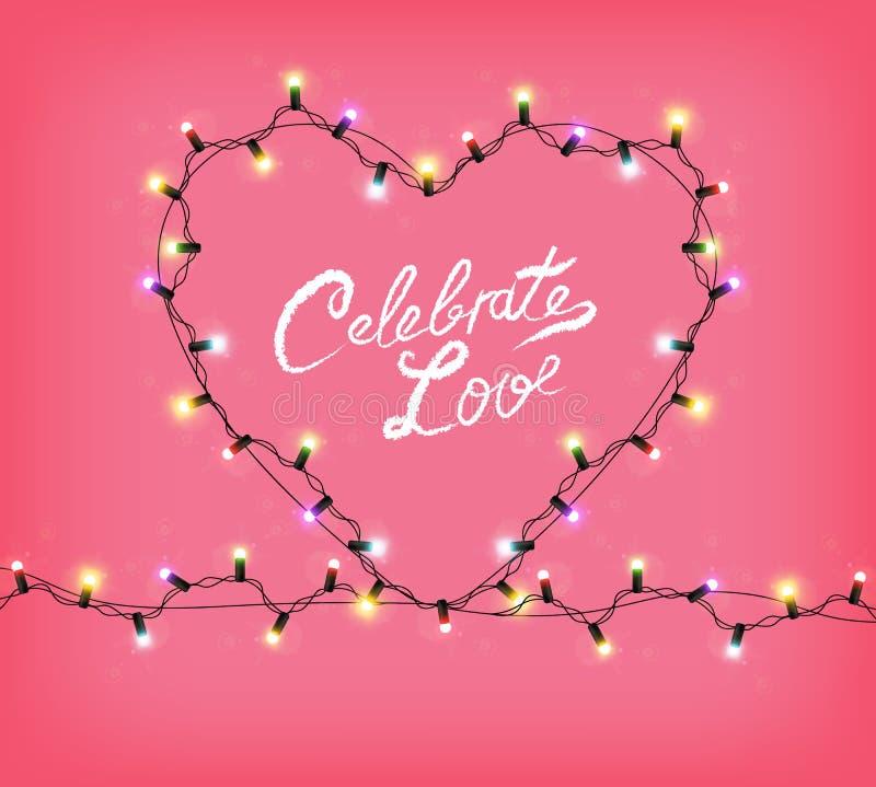 Coeur de Valentine Day avec le vecteur rougeoyant de lumières Célébrez la carte des textes d'amour Guirlande colorée réaliste de  illustration libre de droits