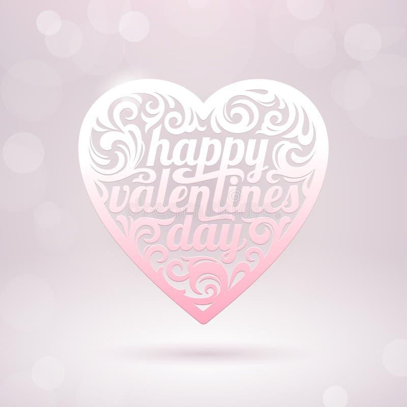 Coeur de Valentines avec des vacances saluant illustration de vecteur