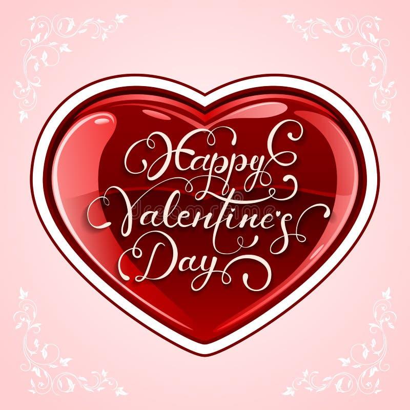 Coeur de valentines sur le fond rose illustration libre de droits
