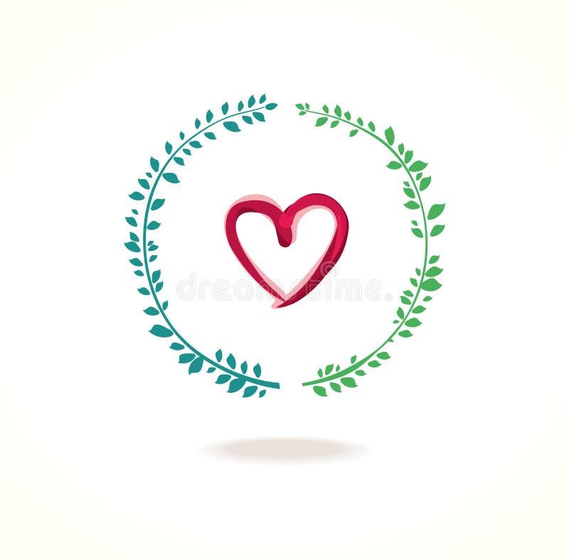 Coeur de vecteur et feuillage vert de cercle illustration stock
