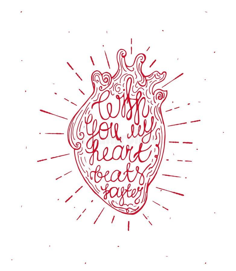 Coeur de vintage avec le texte écrit de rayon de soleil et de main - avec vous mes battements de coeur plus rapidement Valentine& illustration de vecteur