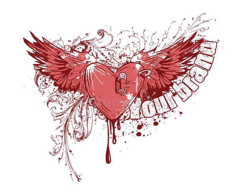 Coeur de vol avec des ailes illustration de vecteur