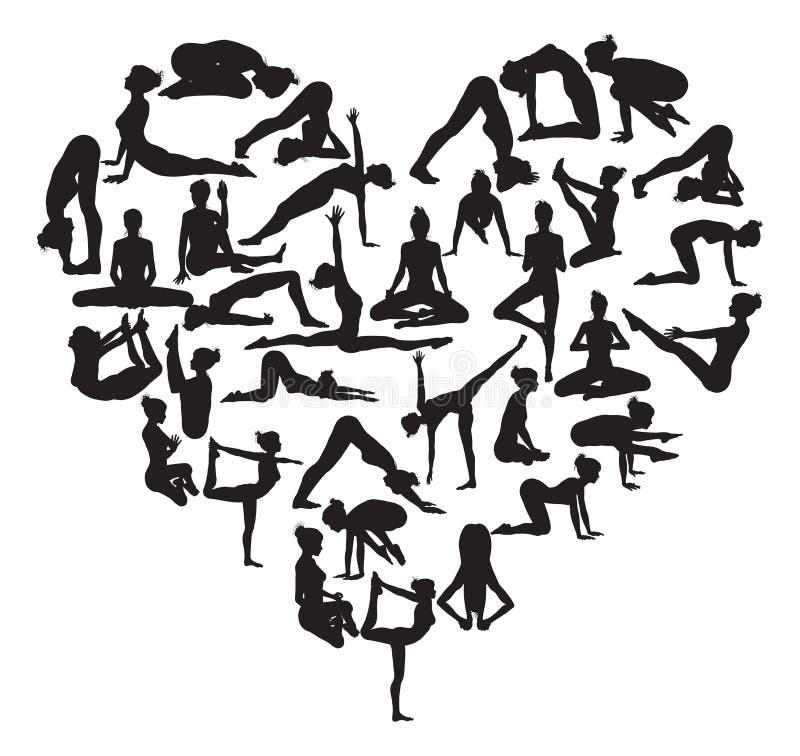 Coeur de yoga illustration de vecteur
