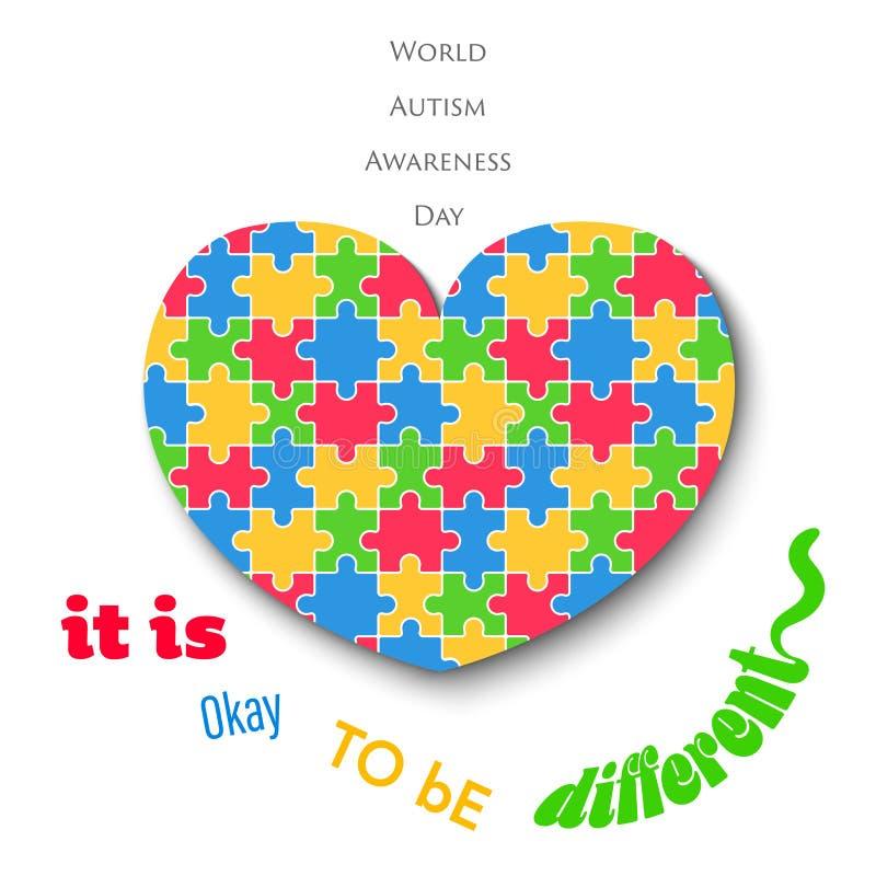 Coeur denteux coloré le jour blanc d'autisme de fond illustration libre de droits