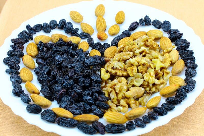 Coeur des écrous et des raisins secs dans les plats blancs image stock