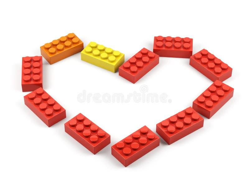 Coeur des blocs en plastique de jouet. illustration stock