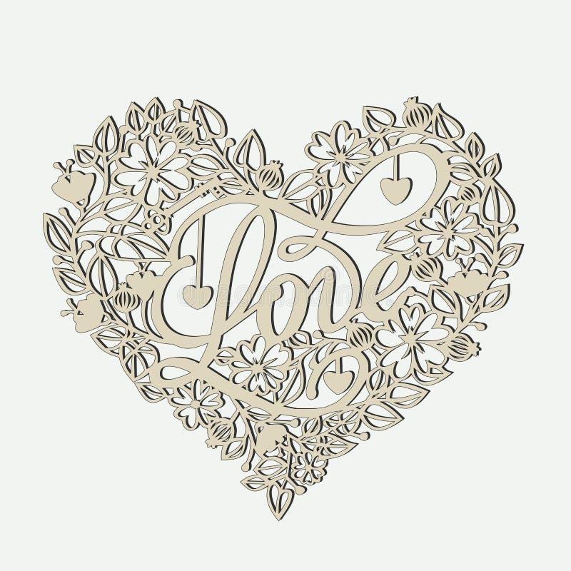 Coeur des fleurs avec une clé et l'amour de mot sur les cartes pour la Saint-Valentin illustration de vecteur