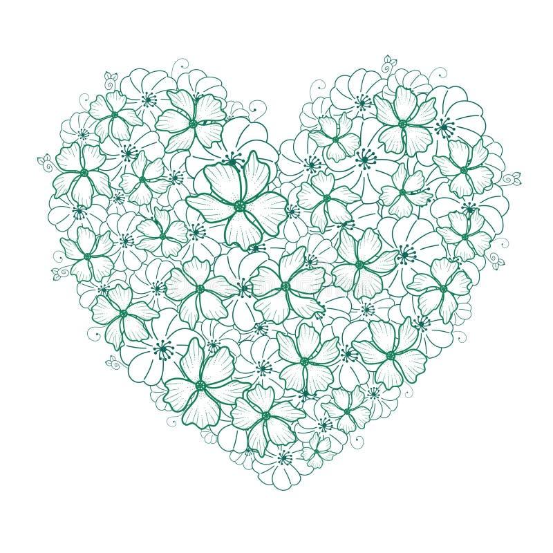 Coeur des fleurs sensibles tirées par la main de griffonnage et de l'herbe blanches, vertes et bleues illustration stock