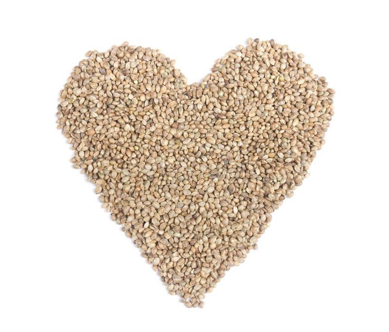 Coeur des graines de chanvre photographie stock libre de droits