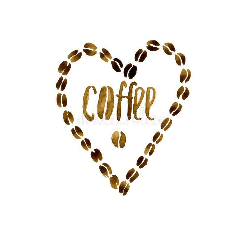 Coeur des grains de café illustration de vecteur