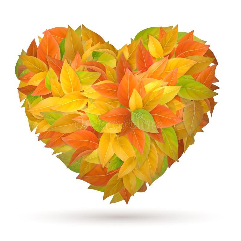 Coeur des lames d'automne illustration stock