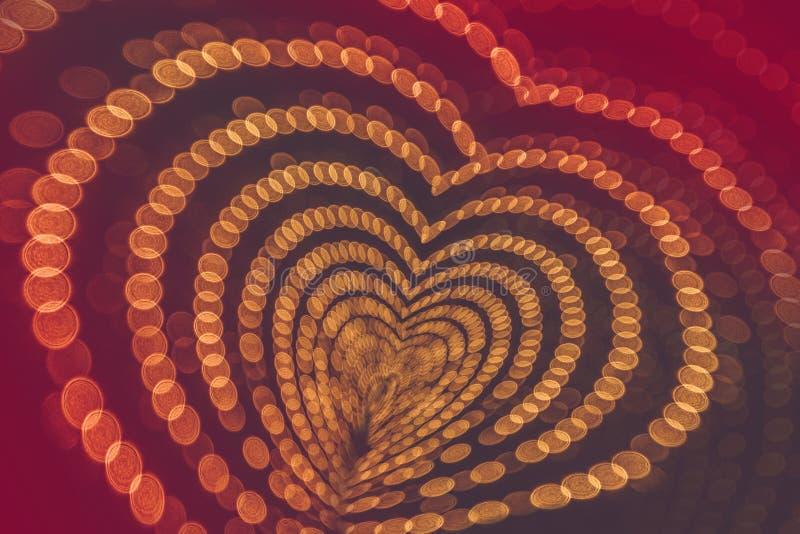 Coeur des lumières de bokeh Le symbole de coeur images stock