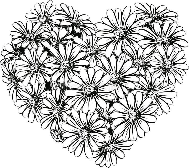 Coeur des marguerites en fleur illustration de vecteur