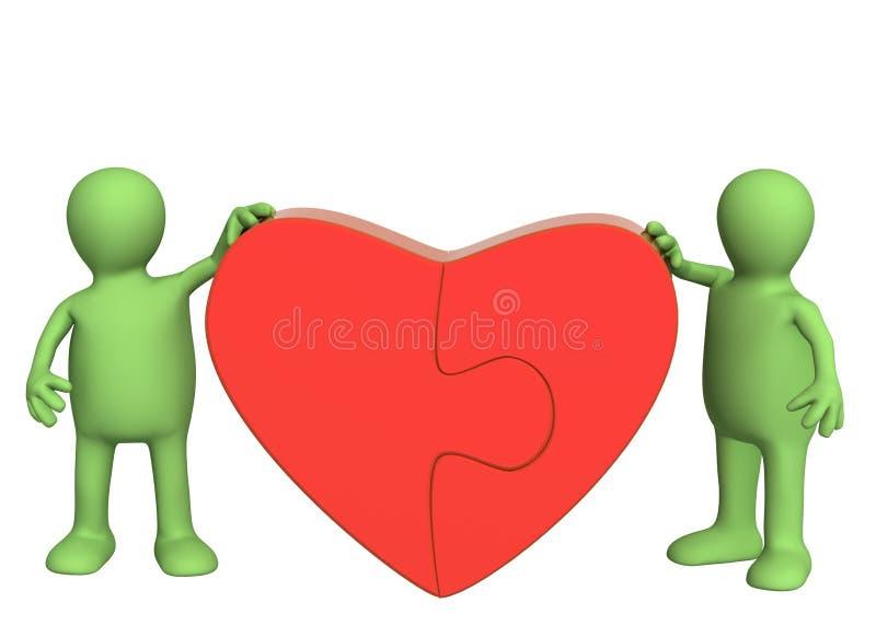 Coeur des parties d'un puzzle illustration de vecteur