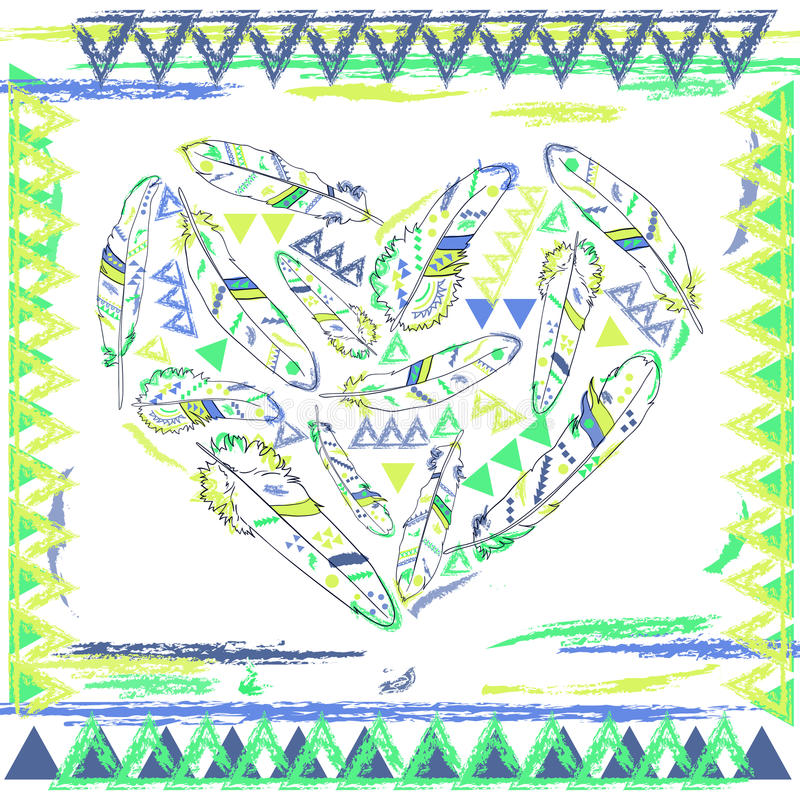 Coeur des plumes dans le style de Navajo, illustration de vecteur illustration libre de droits