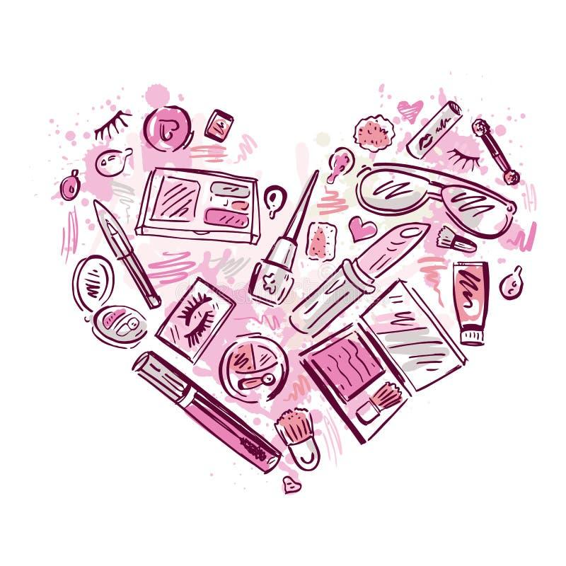 Coeur des produits de maquillage réglés illustration stock