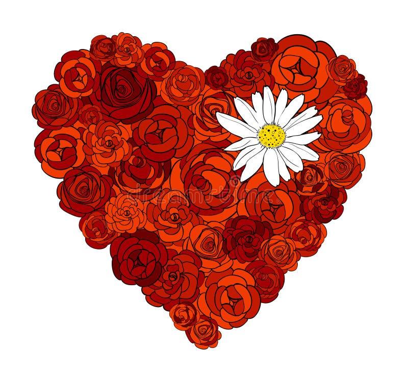 Coeur des roses et de la marguerite illustration de vecteur