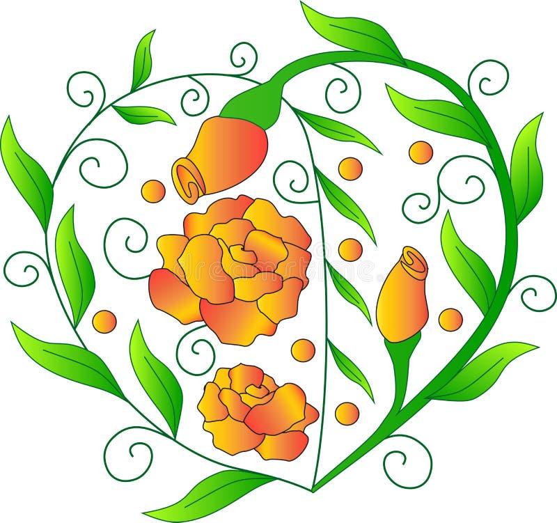 Coeur des verts, roses oranges, la photo pour le jour du ` s de St Valentine, feuilles vertes, une usine de vecteur, illustration libre de droits