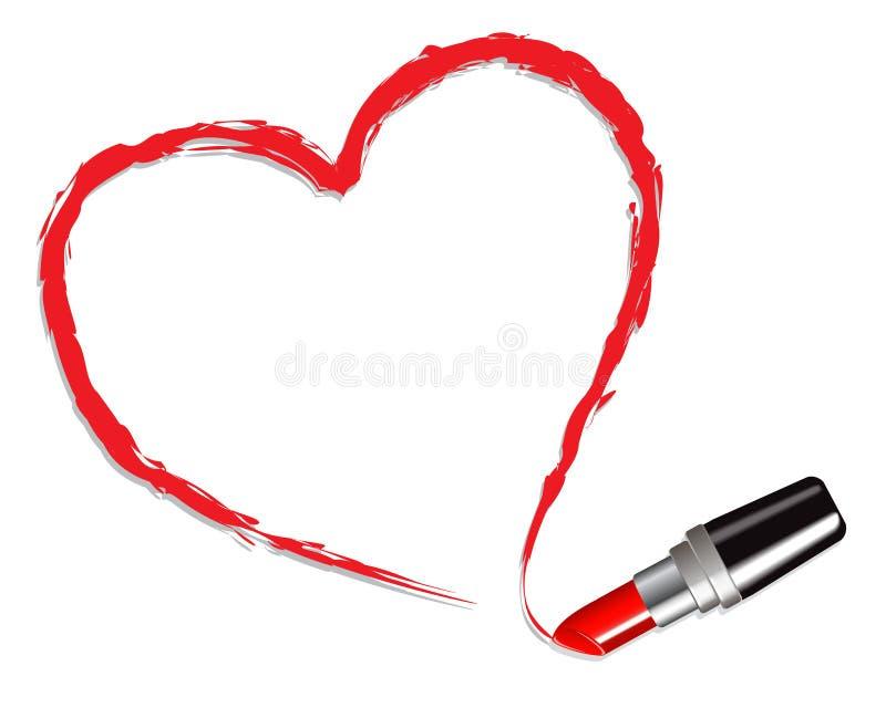 Coeur dessiné avec le rouge à lievres rouge illustration libre de droits