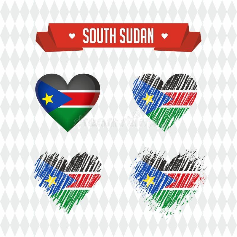 Coeur du sud du Soudan avec le drapeau à l'intérieur Symboles graphiques grunges de vecteur illustration stock