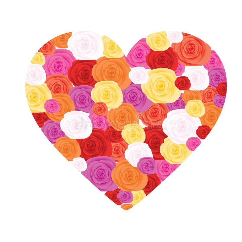 Coeur effectué à partir des roses illustration de vecteur