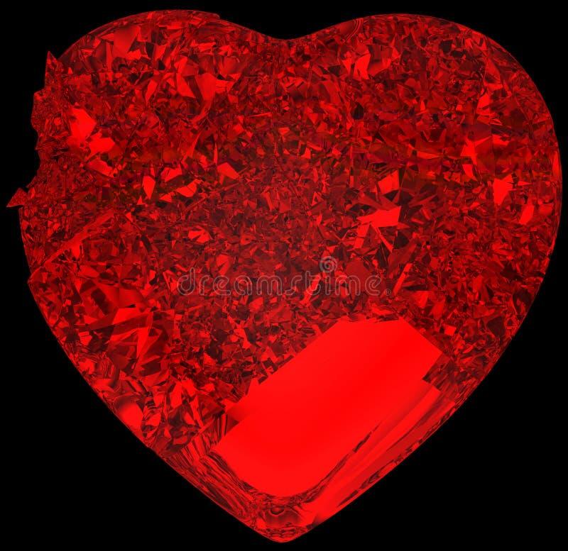 Coeur en cristal brisé rouge : amour non récompensé illustration libre de droits