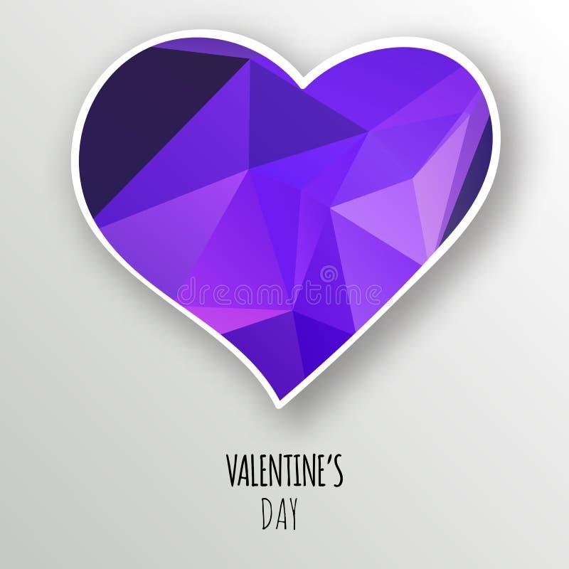 Coeur en cristal de vecteur d'isolement sur le fond blanc illustration libre de droits