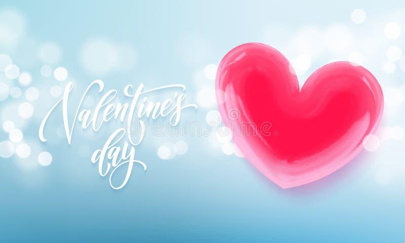 Coeur en cristal rouge heureux des textes et de valentine de lettrage de jour de valentines pour le fond de carte de voeux Jour d illustration de vecteur