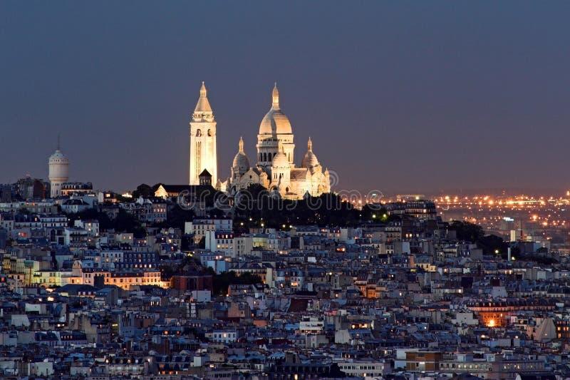 Coeur en el someter de Montmartre, París de Sacre foto de archivo