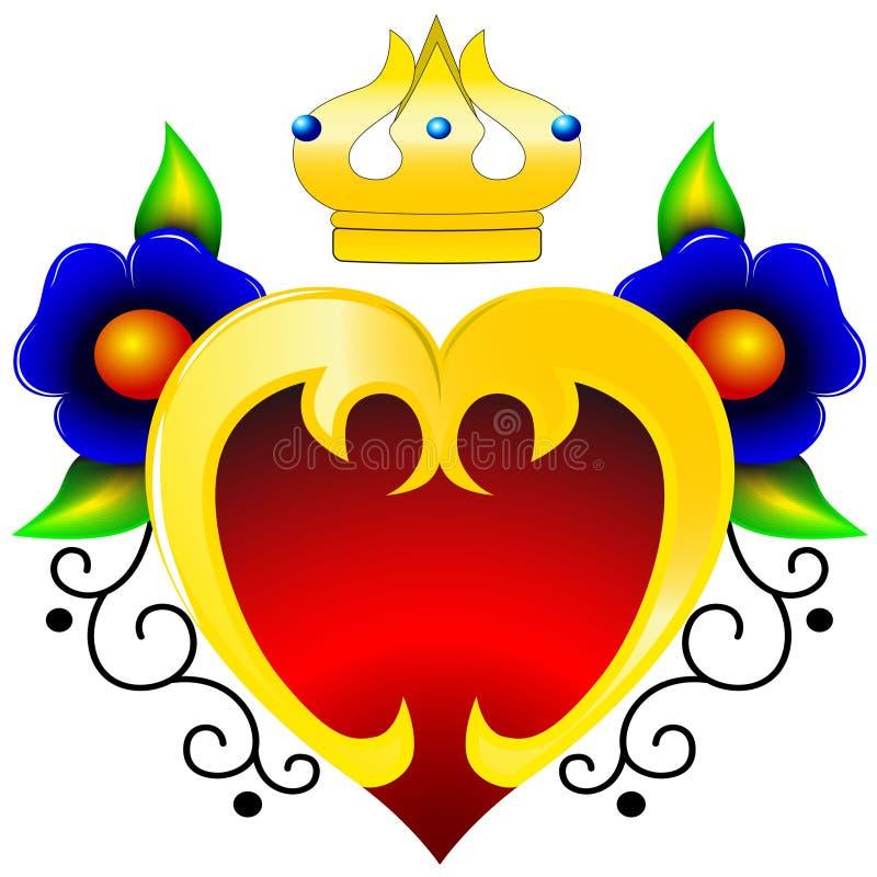 Coeur en or et avec des fleurs illustration stock