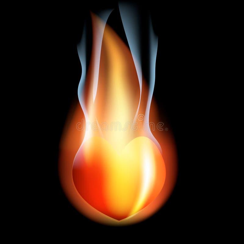 Coeur en feu illustration libre de droits