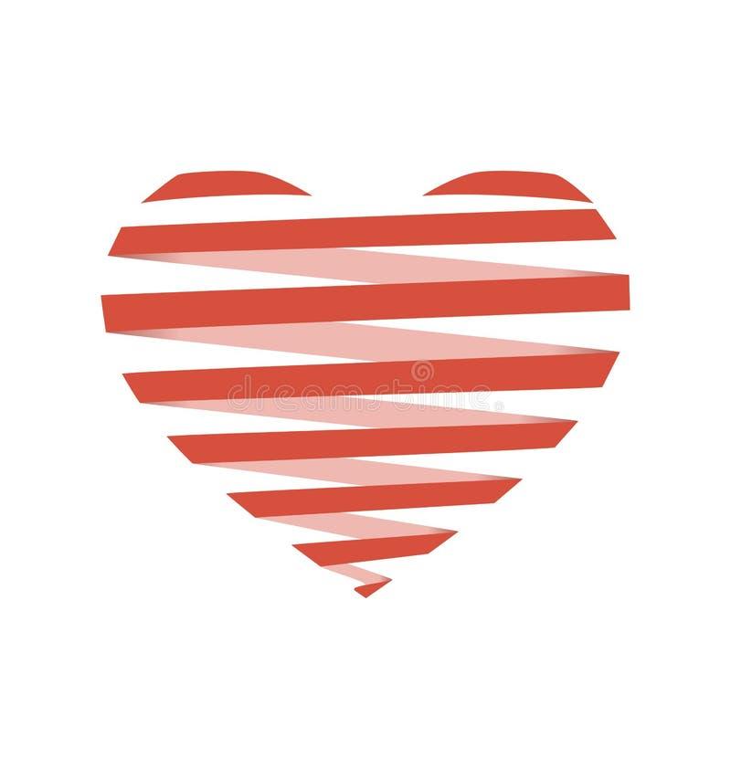 Coeur en spirale plat rouge comme l'origami d'isolement sur le blanc illustration stock