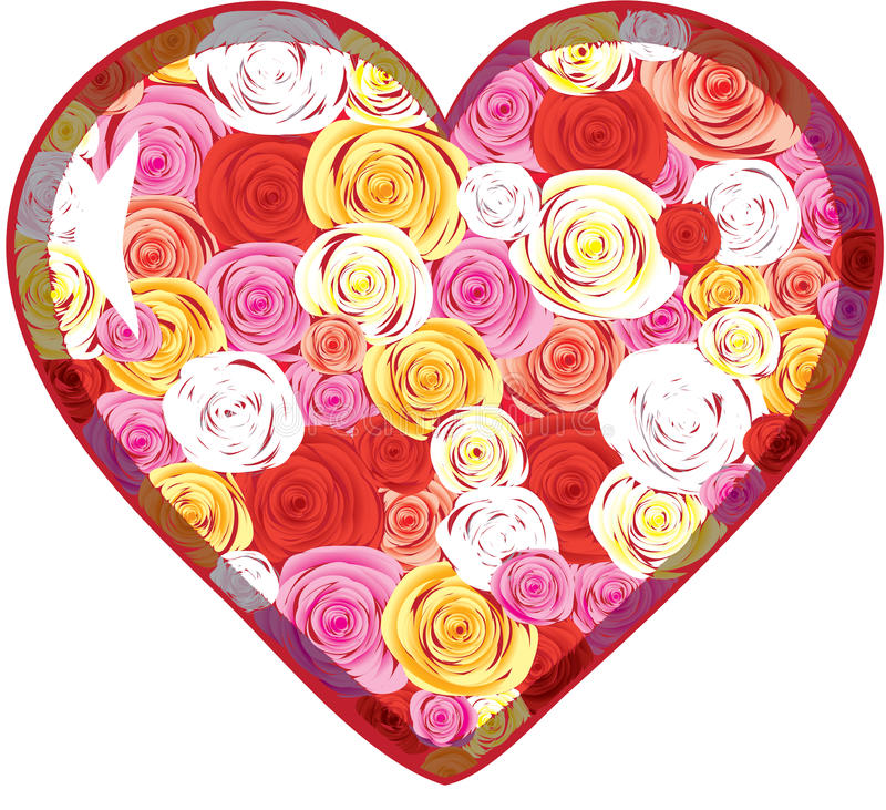 Coeur en verre avec des roses à l'intérieur illustration libre de droits