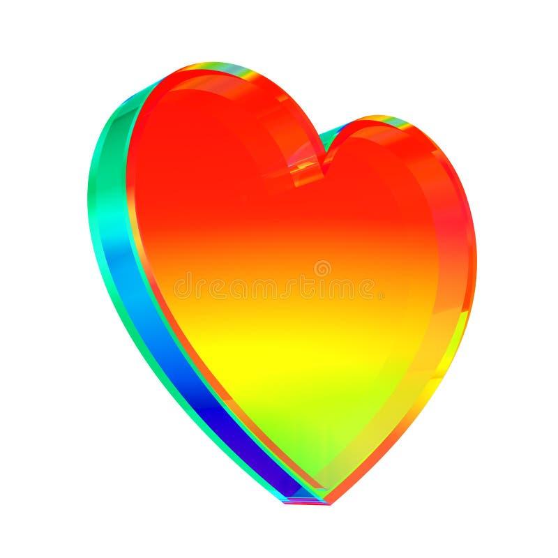 Coeur en verre multicolore sur le fond blanc illustration de vecteur