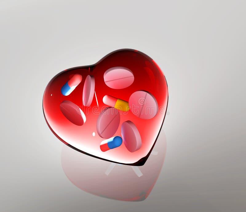 Coeur en verre rouge avec les comprimés et l'illustration des capsules 3d illustration libre de droits