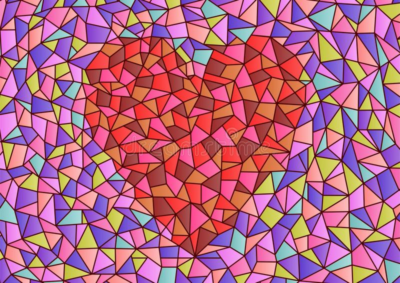 Coeur en verre souillé illustration stock